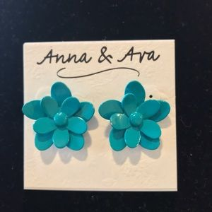 Blue cut metal flower earrings